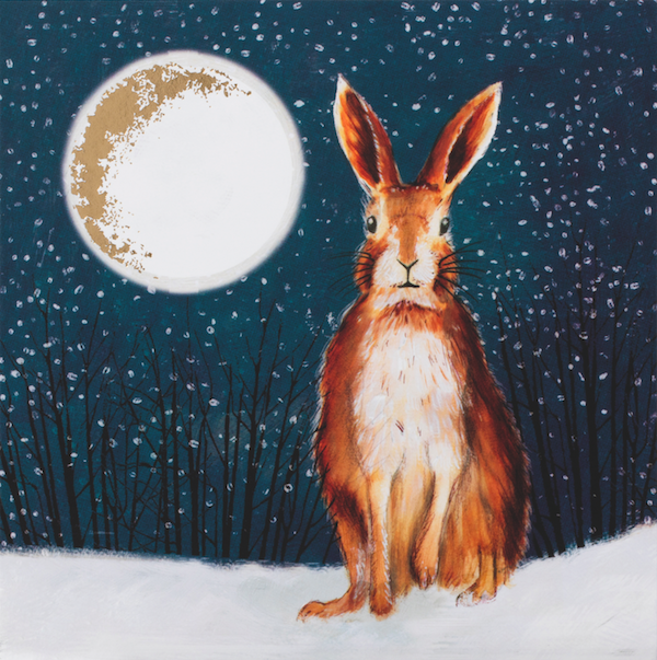 bloodwise hare in moonlight - Animal Charity Christmas Cards